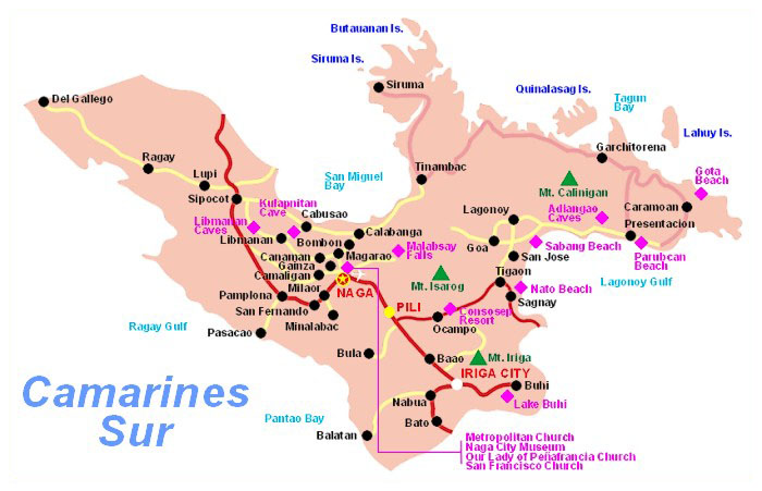 Map Of Camarines Sur Province Philippines