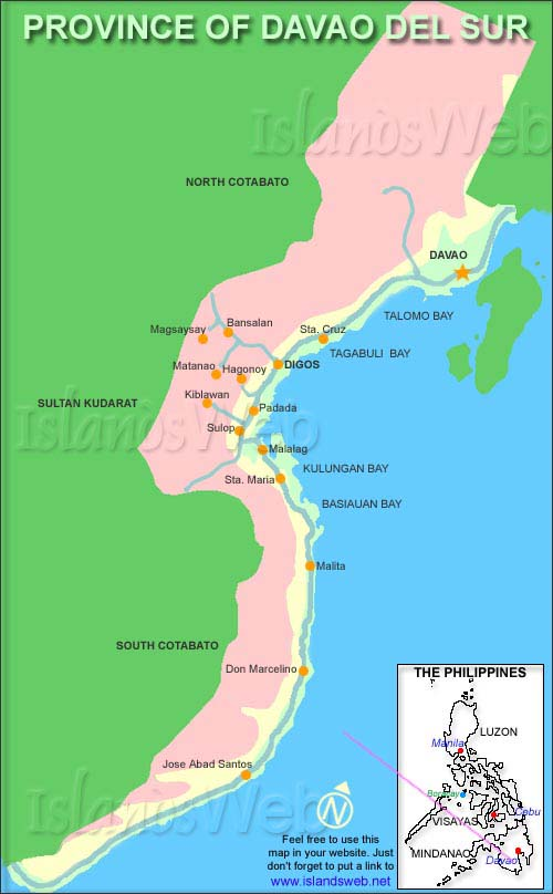Map of Davao del Sur Province, Philippines