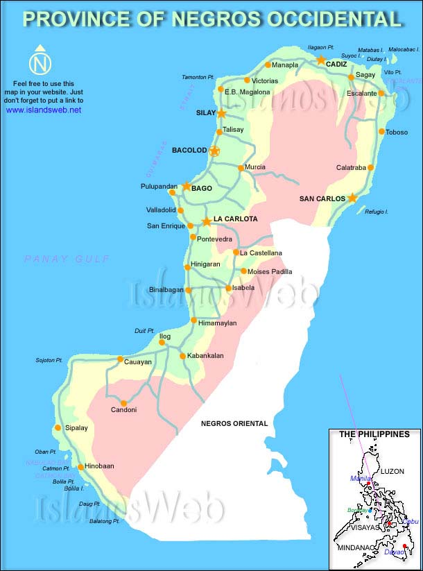 Negros Philippines  city photo : Map of Negros Occidental Province, Philippines